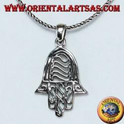 Hand of Fatima hand of Miriam Hamsa with pendant in pierced silver
