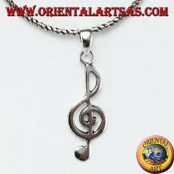 Silver pendant Treble clef or treble clef
