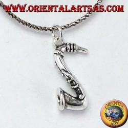 Saxophone sax pendant in 925 silver