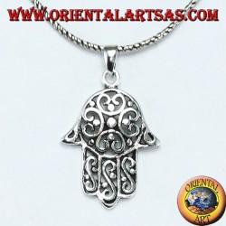 Handanhänger von Fatima oder Miriam Hamsa aus 925er Silber mit durchbrochener Blume