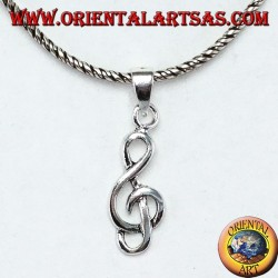 Silver pendant Treble clef or sol key (small)