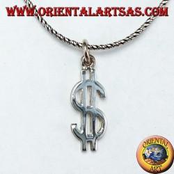 Colgante de plata que representa el símbolo del dólar