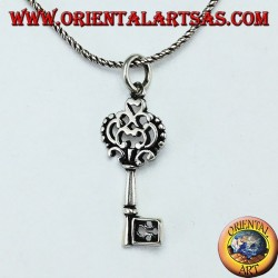 Key silver pendant in baroque style