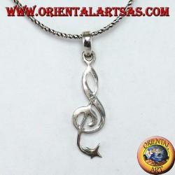 Ciondolo in argento Chiave di violino o chiave del sol con stellina in punta