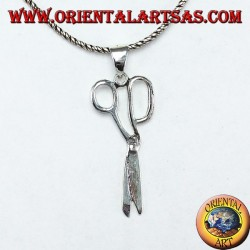 Silver pendant in the shape of scissors