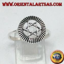 Anello in argento con stella di davide, stella a 6 punte