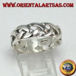Anello a fascetta ad intreccio semplice  in argento 925 ‰