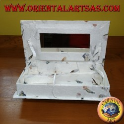 Jewelry box with mirror made of rice paper with real flower petals