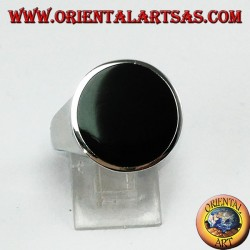 Silver ring with round flat onyx (large)