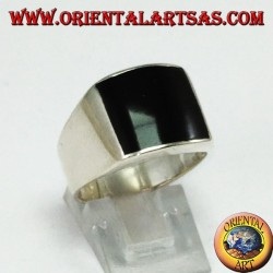 Silver ring with convex rectangular onyx