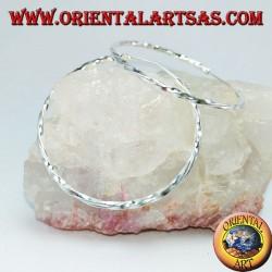 Серебряные серьги с крученым кружком, 40 мм. в диаметре ⌀