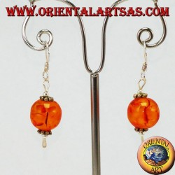 Earrings in 925 argento silver with a sphere of Amber