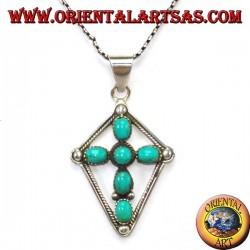 Ciondolo croce  in argento con turchesi ovali