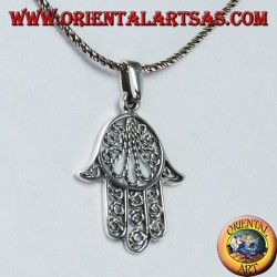 Hand pendant of Fatima or Miriam Hamsa in 925 ‰ silver filigree workmanship