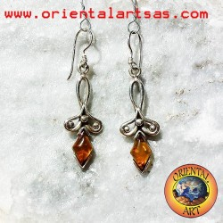 Silver pendant earrings with rhombus amber