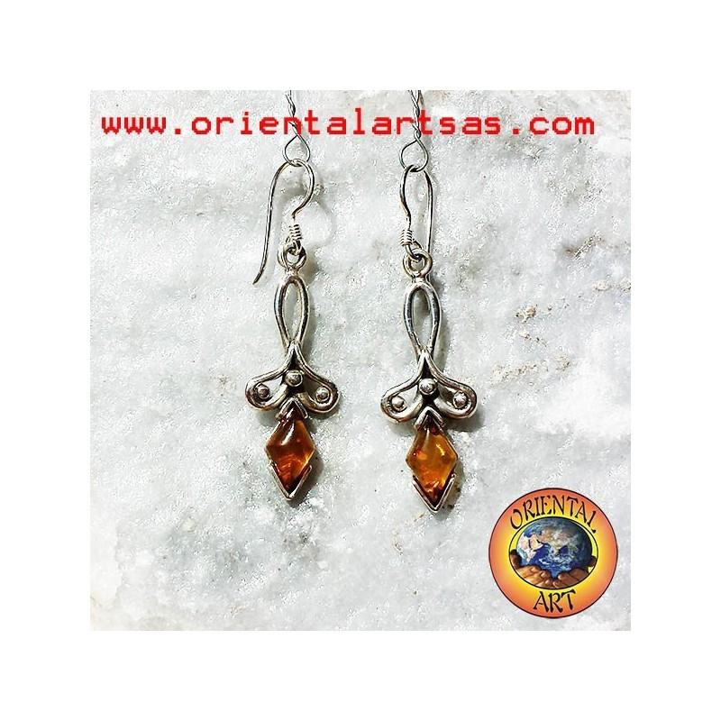 orecchino argento ambra