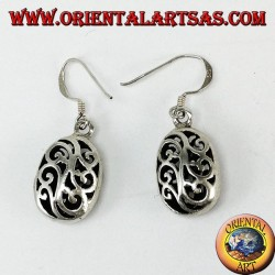 Silver pendant earrings with double-faced pierced ovals