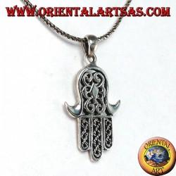 Ciondolo in argento 925‰ mano di Miriam di Fatima Hamsa intagliata