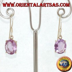 Hand pierced silver earrings with natural oval amethyst set