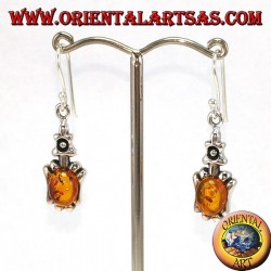 Silver pendant earrings with oval amber