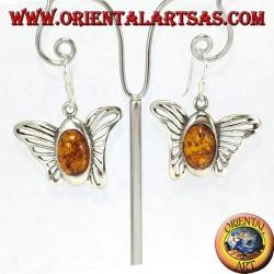 Серебряные серьги из бабочки с овальным янтарем