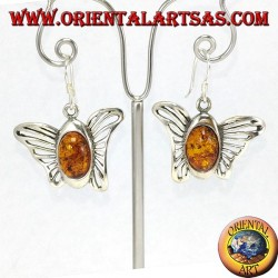 Silver butterfly earrings with oval amber