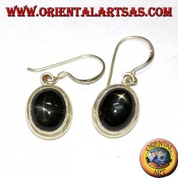 Silver drop earrings with Black star (starry Diopside) oval