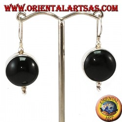 Simple silver earrings with large round onyx