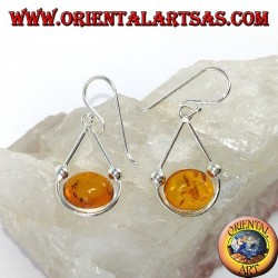 Simple pendant silver earrings with oval amber