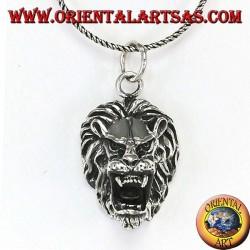 Ciondolo in argento testa di leone aggressivo