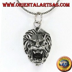 Silver pendant with an aggressive lion's head