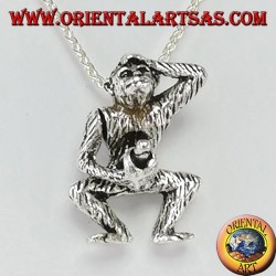Silver pendant, monkey masturbating by moving the arm (three-dimensional)