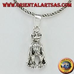Chimpanzee monkey silver pendant