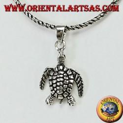 Silver pendant, sea turtle, tortoise
