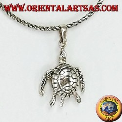 Pendant in silver, moving sea turtle that moves