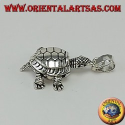 Ciondolo in argento, tartaruga di terra  mobile che si muove