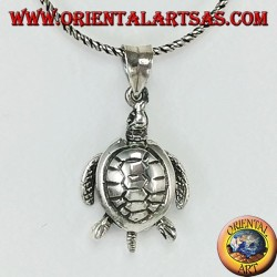 Silver pendant, moving sea turtle moving (large)