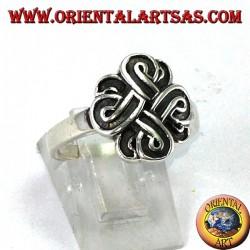 Серебряное кольцо с узлом святого Иоанна или узла Боуэна