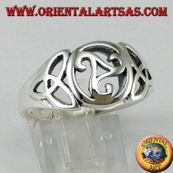 Silver ring with central triskell and two knots of tyrone