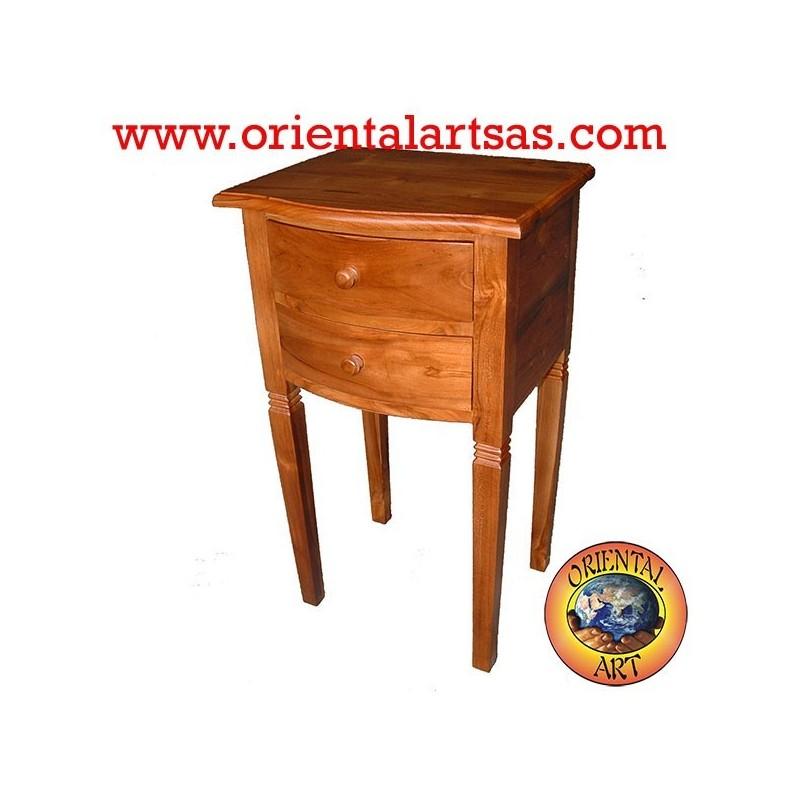 Table de chevet 2 tiroirs avec des pieds hauts en teck