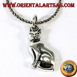 Ciondolo in argento il gatto seduto