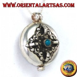 Gao Kalachakra pendant in silver with double dorje and turquoise