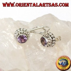 Silver earrings with small faceted round Amethyst