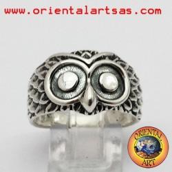 silver owl head ring