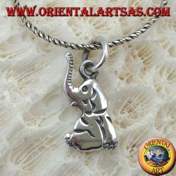 Silver pendant, elephant sitting with proboscis towards