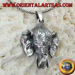 Ciondolo in argento, testa di elefante grande Pachiderma