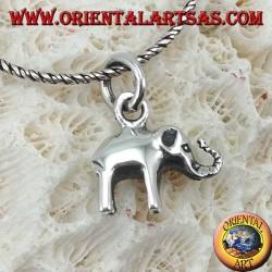 Ciondolo in argento piccolo elefante con proboscide in su