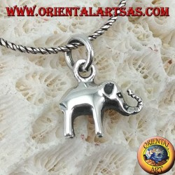 Small elephant silver pendant with proboscis up
