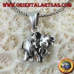 Pendant in silver the elephant pachyderm