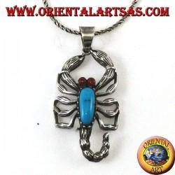 Colgante de plata, escorpión con ojos color turquesa y cornalina